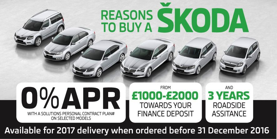 0% APR with upto £2000 SKODA deposit contribution.
