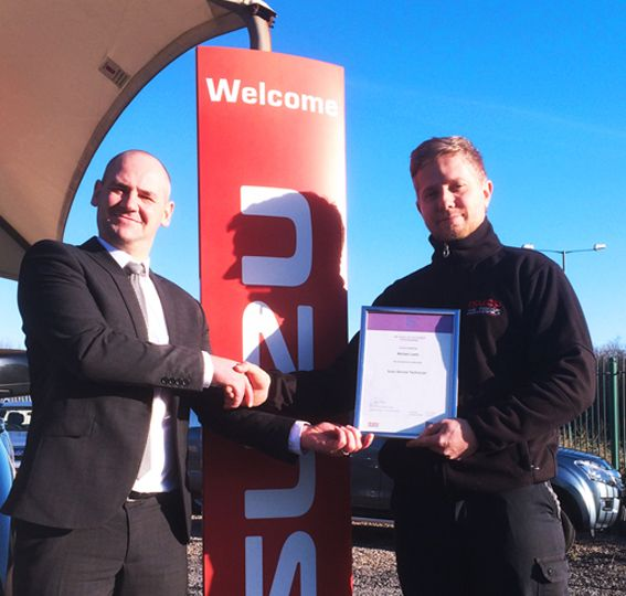Mike Lamb, passes ISUZU Service Technician qualification
